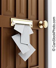 Mail slot - Letter sliding through brass mail slot on a...