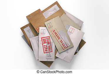 Mail Stack - A 3D render of a scattered stack of regular...