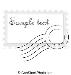 mail stamp isolated on white background, abstract art illustration