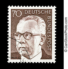 Mail stamp printed in Germany featuring former German federal president Gustav Heinemann, circa 1970