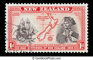 Captain Cook - Mail stamp printed in New Zealand featuring a...