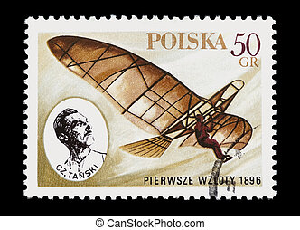 man-powered flight - mail stamp printed in Poland ...