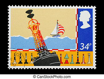 bouys - Mail stamp printed in the UK depicting different ...