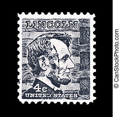 Abraham Lincoln - Mail stamp printed in the USA featuring ...