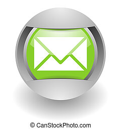 mail steel green glosssy icon