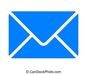Mail symbol icon - blue simple with rounded corners, isolated - vector