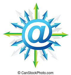 Mail symbol with arrows
