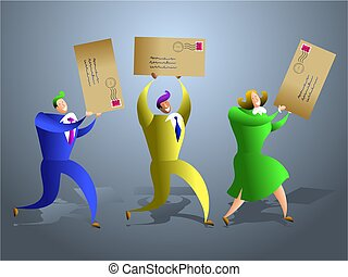mail team - team of business people receiving letters...