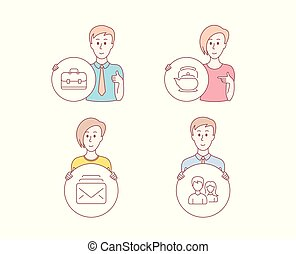 Mail, Teapot and Portfolio icons. Couple sign. New messages, Tea kettle, Business case. Male and female. Vector