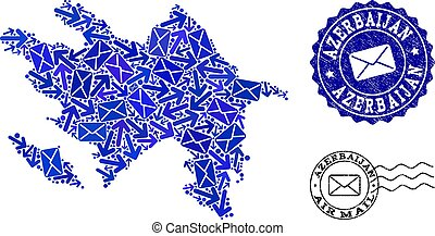 Mail Traffic Collage of Mosaic Map of Azerbaijan and Grunge Stamps