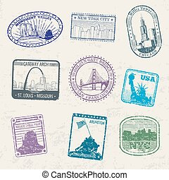 Mail travel stamps with USA city symbols