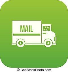 Mail truck icon digital green