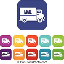 Mail truck icons set flat