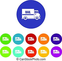 Mail truck icons set flat vector