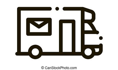 Mail Truck Postal Transportation Company animated black icon on white background