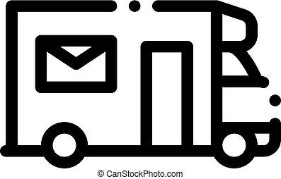 Mail Truck Postal Transportation Company Icon Vector Illustration
