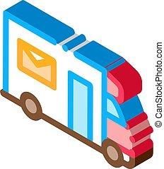 Mail Truck Postal Transportation Company isometric icon vector illustration