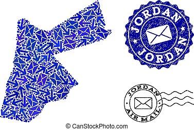 Mail Ways Composition of Mosaic Map of Jordan and Distress Seals
