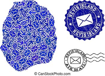 Mail Ways Composition of Mosaic Map of Nevis Island and Scratched Seals