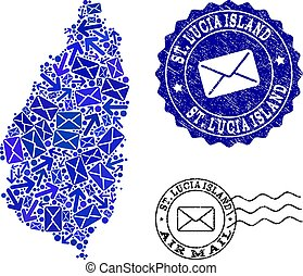 Mail Ways Composition of Mosaic Map of Saint Lucia Island and Textured Stamps