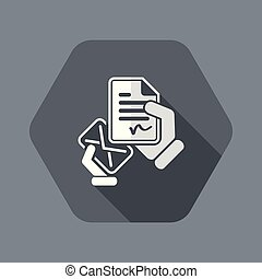 Mail with a signed document - Flat and isolated vector ...