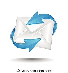 Mail with blue circular arrows