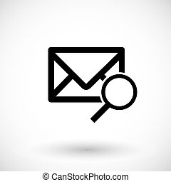 Mail with magnifying glass flat vector icon