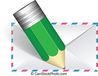 Mail with pen vector illustration