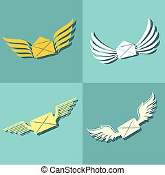 Mail with wings icons on blue background