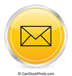 Mail yellow circle icon on a white background. Vector illustration.