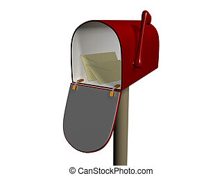 Mailbox - 3d scene of the mailbox with envelope