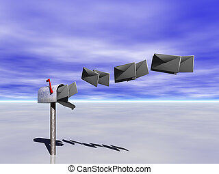 Mailbox. - A mailbox with letters against a blue sky.