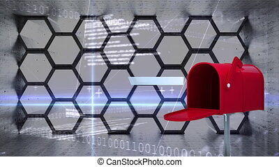 Digitally generated animation of mailbox sending out letters with beehive pattern background and digital codes and lines.