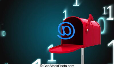 Digitally generated animation of red mailbox opening to release an at email sign while background shows binary numbers
