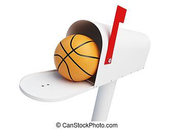 Mailbox Basketball ball  on a white background 3D illustration