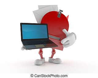 Mailbox character holding laptop