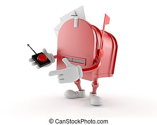 Mailbox character pushing button on white background