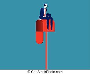mailbox., concept, séance, homme affaires, vecteur, illustration., business