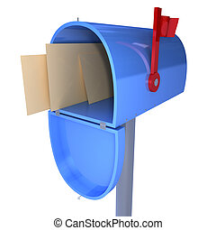 Mailbox - 3d mailbox with letters inside isolated on a white...