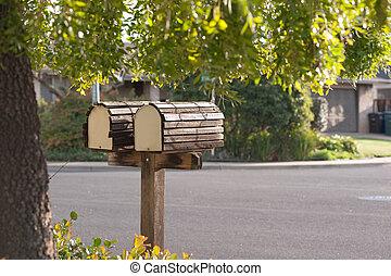 mailbox duo on suburban street