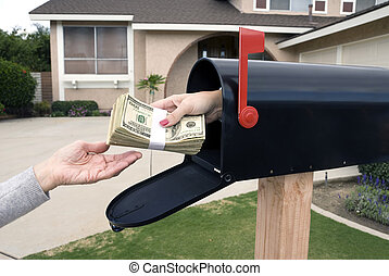 A bundle of cash is being delivered to a homeowner waiting for an economic stimulus payment or property bailout money.
