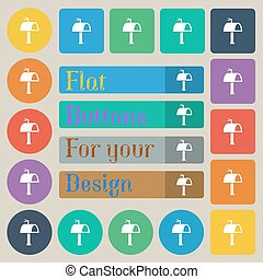 Mailbox icon sign. Set of twenty colored flat, round, square and rectangular buttons. Vector