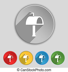 Mailbox icon sign. Symbol on five flat buttons.
