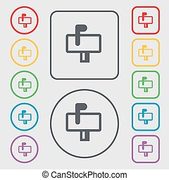 Mailbox icon sign. symbol on the Round and square buttons with frame. Vector