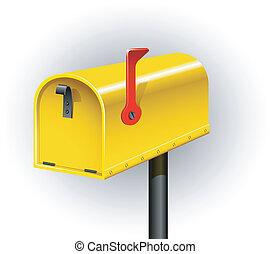 Mailbox - Yellow mailbox over white. EPS 8, AI, JPEG
