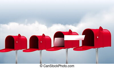 Digitally generated animation of red mailboxes opening and sending out letters while in the sky with clouds