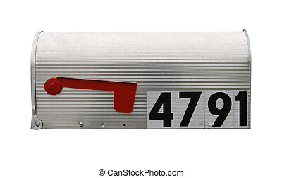 Mailbox isolated on white with clipping path with flag down