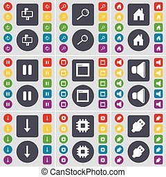 Mailbox, Magnifying glass, House, Pause, Window, Sound, Arrow down, Processor, USB icon symbol. A large set of flat, colored buttons for your design. Vector