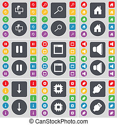Mailbox, Magnifying glass, House, Pause, Window, Sound, Arrow down, Processor, USB icon symbol. A large set of flat, colored buttons for your design.