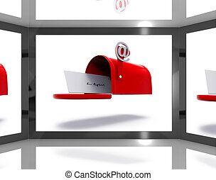 Mailbox On Screen Shows Electronically Mailing And Online...